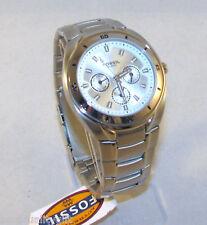 Nuevo Fossil Tono Plateado Acero Inoxidable Cronógrafo Fecha, Día Watch-sbq1003
