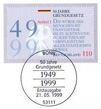 BRD 1999: Grundgesetz Blockmarke Nr 2050 mit Bonner Ersttags-Sonderstempel! 157