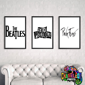 Famous Music Artists Black And White Wall Art Classic Rock Art Various Artists