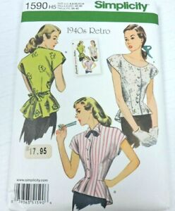 Simplicity 1590 Sewing Pattern Size 6-14 Vintage 1940s Top Blouse Shirt Uncut