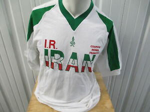 VINTAGE IRAN NATIONAL TEAM SOCCER FOOTBALL SEWN LARGE JERSEY 1998 WORLD CUP NWT