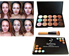 Corrector Paleta Cara de 15 Colores Maquillaje Kit Contorno Crema Neutral & Cepillo CL1