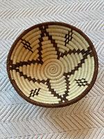 Handwoven Coiled Round Basket Fruit Basket Boho Native American Style Gathering