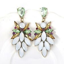 Gold Mint Green White Stone Drop Dangle Style Bohemian Earrings
