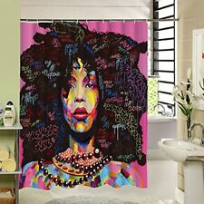 Sea&Cloud African American Woman Shower Curtain, 3D Graphic Waterproof Polyester