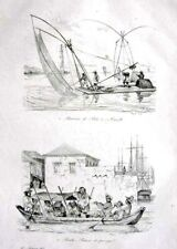 PHILIPPINES - MANILA - BOATS - FERRY - COSTUMES - Original 1835 Antique Print