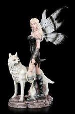 Elfen Figur - Aislin mit Traumfänger und Wolf - Fantasy Fee Hund Deko Statue