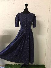 Vintage Azul Marino Vestido Laura Ashley Completo Swing Lunares Algodón Midi Talla 10 8