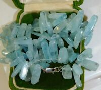 "Sky Blue Topaz stone Picket Bead strand 17"" Necklace Sterling Silver clasp 8n 8"