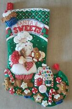 WOW! Bucilla Santas Sweets Felt Embroidered sequin beads Christmas Stocking