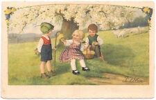 Ebner Artwork Postcard Two Boys Bringing Girl Flowers in a Park~105381