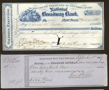 New York SIGNED lot - 1867 check Mayor John Hoffman PLUS 1859 U.S. Navy pay slip
