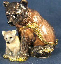 Grizzly Bear and Cub Jeweled Pewter Trinket Box Wildlife Decor