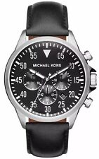 Michael Kors MK8442 Gage Chronograph Black Dial Black Leather Men's Watch