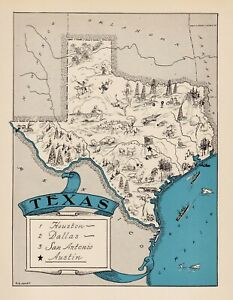 1930s Animated TEXAS State Map RARE Map Reprint Map of Texas Wall Art usbl