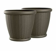 "2 Large Plastic Planters Flower Pots Outdoor Patio Resin Wicker 22"" Brown Garden"