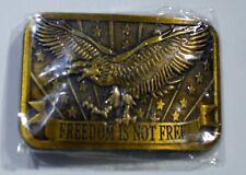 Freedom Is Not Free New Sealed New 2004 Sponsor Brass Belt Buckle