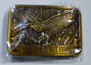 NEW 2004 SPONSOR BRASS BELT BUCKLE FREEDOM IS NOT FREE NEW SEALED