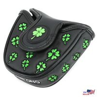 Lucky Clover Black MALLET PutterCover Headcover For Scotty Cameron Odyssey 2ball