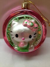 HELLO KITTY ROUND GLASS XMAS ORNAMENT PINK AND GREEN BOW IN HAIR KURT ADLER