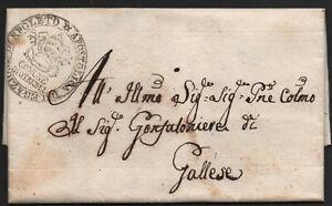 ✔️ ITALY 1837. RARE STAMPLESS LETTER Prefilatelica COMUNE DE OTRICOLI TO GALLESE