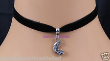 black velvet choker/ necklace small moon pendant gothic wicca gothic pagan