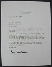 1998 President Bill Clinton Signed Letter to Wayne Newton White House Autograph