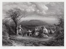 """Astonishing JOHN LINNELL 1800s Engraving """"Mountain Shepherds"""" Framed SIGNED COA"""