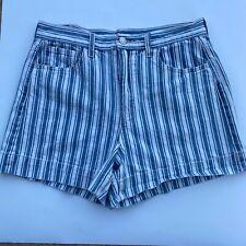 American Eagle Shorts Sz 6 Stripe High Rise Waist Denim Mom Blue White Retro