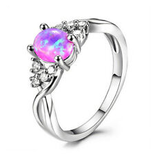 Fashion woman 925 Silver Pink Fire Opal CZ Crystal Wedding Ring Jewelry Size 6