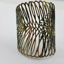 Feather Cuff Bracelet Gold Tone Statement Big Chunky filigree Boho