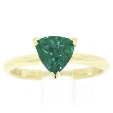Fine 18k Amarillo Oro GIA 1.35 Ct Trillón Corte Emerald