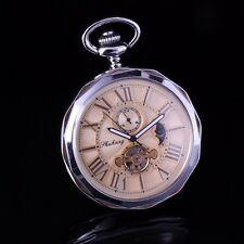 Silver Polygon Open Face Case Gold Roman Dial Automatic Wind Up Pocket Watch