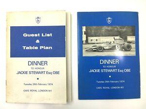 1974 Dinner To Honour Jackie Stewart Menu & Guest List Table Plan