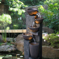 """40""""5-Tier Stacked Bowls Water Fountain with Led Lights  for Garden Yard"""