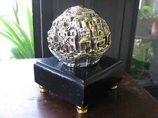 "Sam Philipe Sterling Globe of Jerusalem 2.5"" in diameter with Gold Wash"