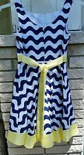Sundress sz.14 Rare Editions white,navy,lime w/crinoline Tea Party Xmas in July