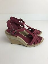 TIMBERLAND LADIES LEAHTER SHOES WEDGE SANDALS RED BURGUNDY UK 7
