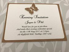 50 Butterfly Wedding Invitations -  Recycled Kraft Card - A6 Size - Handmade