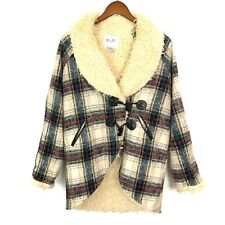 MISS ME Women's Size Large SHERPA Lined Plaid Front Thick Cozy Jacket Wool Blend