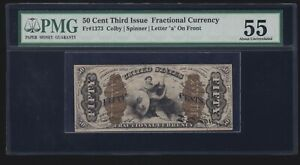 US 50c Fractional Currency Justice Fiber Paper w/ 'a'  FR 1373 PMG 55 Ch AU (22)