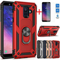 For Samsung Galaxy A6/J4/J6 Plus Shockproof Metal Ring Stand Case+Tempered Glass