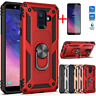 For Samsung Galaxy A6/J4/J6 Plus Shockproof Armor Ring Stand Case+Tempered Glass