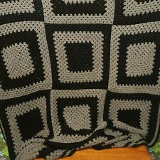 Vintage Black grey Squares Afgan Chunky Knitted Crochet Wool Blanket / Throw