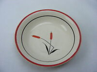 "Vintage Universal Cambridge China Red Cattail 5"" Berry Bowl Black Line"