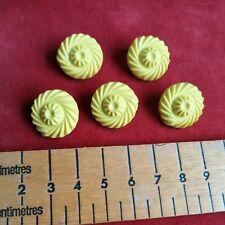 5 Vintage yellow celluloid bakelite plastic shanked flower buttons set lot.