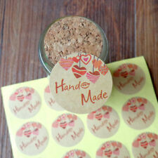 120pcs Round Hand Made Kraft Paper Seal Stickers DIY Gifts Baking Decor labels..