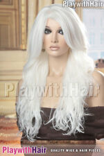 STUNNING Long Layers Heat Friendly Wig Pure White Platinum