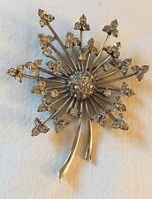 Vintage Pennino Sterling Silver Brooch With Clear Rhinestones