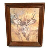 Home Interiors Homco Silent Buck Deer Picture K Maroon 78 Vintage Framed 17 x 20